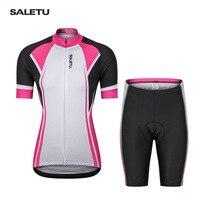 Saletu Reiten Kleidung Set Mountainbike Sommer Radfahrer Mantel Radfahren Top Shorts Fahrrad Kleidung frauen-in Rad-Trikots aus Sport und Unterhaltung bei