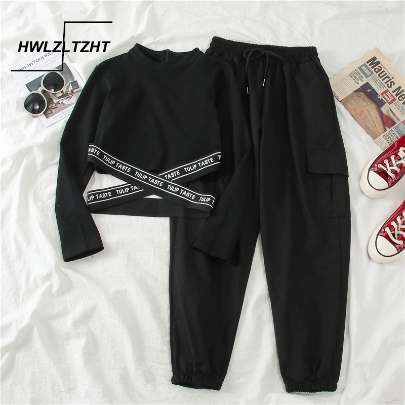 HWLZLTZHT Streetwear Women's Suits High Waisted Cargo Pants Hip Hop Baggy Trousers Harajuku Women Pullover Asymmetry Sweatshirt