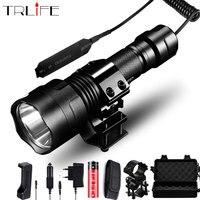 Linterna de caza 1 modo linterna táctica T6/L2 18650 aluminio C8 lámpara impermeable montaje de pistola