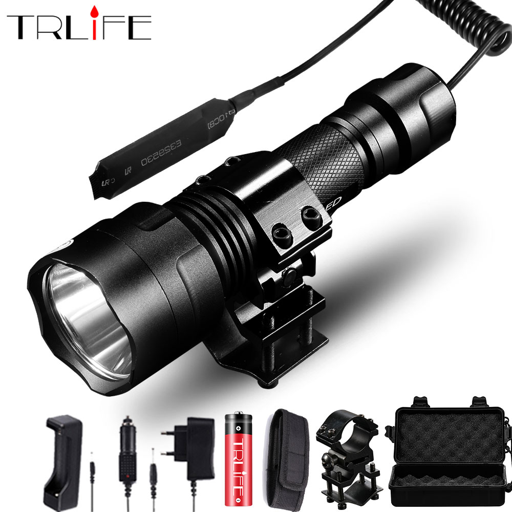 Hunting Flashlight 1 Mode Torch Lintern T6/L2 Tactical Flashlights 18650 Aluminum C8 Waterproof Lamp Gun Mount