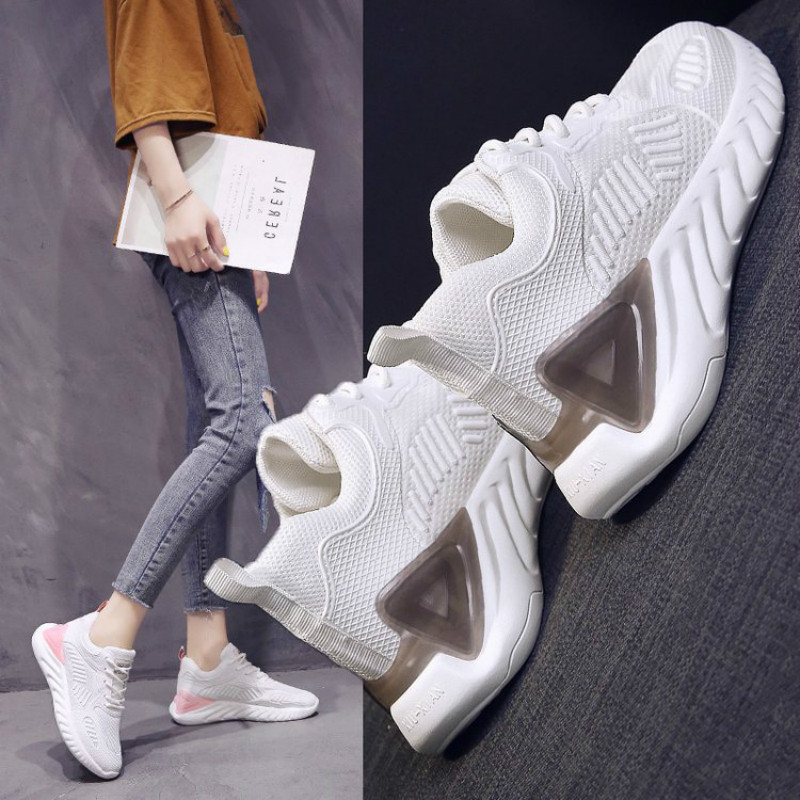 KAMUCC 2019 New Autumn Vulcanize Female Fashion Sneakers Lace Up Soft High Leisure Footwears Breathable Mesh Women Casual Shoes