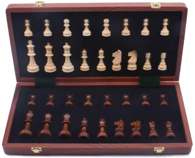 Jeu d'échecs en noyer 15 ''x 15'' avec intérieur de plateau de jeu feutré pour rangement 2