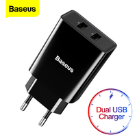 Baseus-Mini cargador USB Dual, adaptador de enchufe de la UE, cargador rápido de pared para iPhone, Samsung, Xiaomi, Mi, Huawei, cargador de teléfono móvil portátil