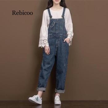 Women Vintage Casual Loose Denim Jumsuits  Ladies  Retro Plus Size Denim Overalls jeans Rompers Ladies wide leg pants цена 2017