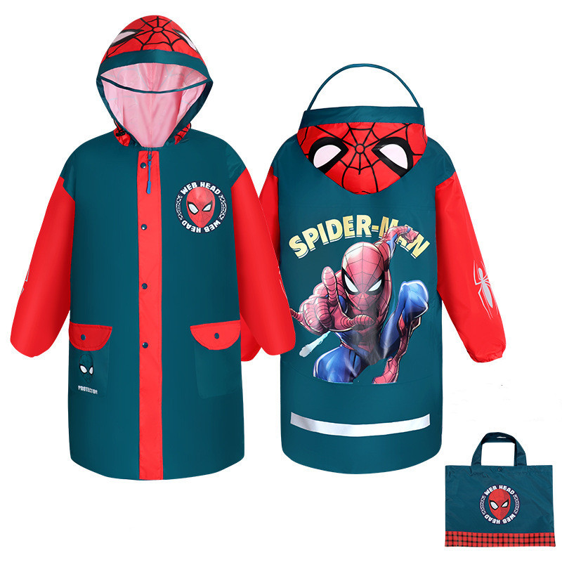 Child Cartoon Blue Raincoat Oxford Cloth Raincoat Spiderman Captain America Rainproof Poncho Kids Boys Rainwear Rainsuit