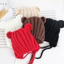 0-24M Cute Baby Childrens Hat Girls Boys Ear Wool Cap Fall Winter Lace Handmade #m