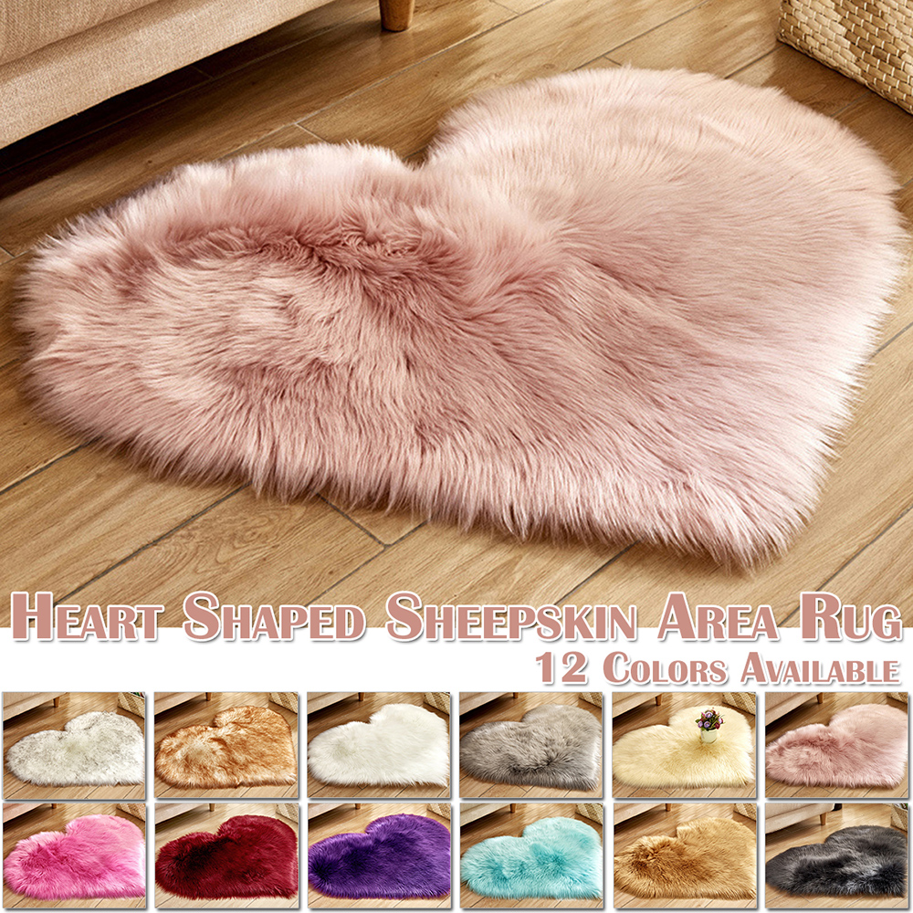 Home Decor Heart Shape Washable Shiny Fur Sheepskin Soft Carpet Sofa Cushions Kitchen Mat  Living Room Carpet  D25
