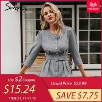 Simplee Buttons blazer female playsuit women Sash solid office ladies jumpsuit romper Female short retro autumn work overalls
