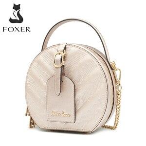 FOXER классическая круглая сумка для женщин из воловьей кожи, мини-сумка с биркой, шикарная Золотая круглая сумка на плечо, стильная женская су...