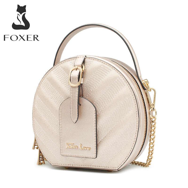 FOXER 클래식 라운드 가방 숙녀 소 가죽 미니 Totes 태그 세련된 골드 라운드 어깨 가방 세련된 여성 클러치 메신저 가방