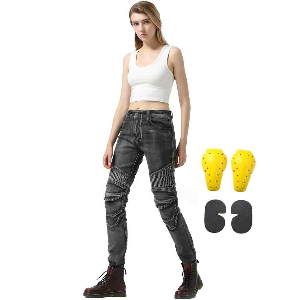 2019 New Biker Jeans per le Donne Pantaloni di Guida del Motociclo Moto Heavy Duty Sovrapantalone Con 4 X CE Armored Aggiornamento Al Ginocchio hip Pad