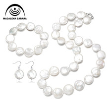 MADALENA SARARA 13mm Baroque Button round Freshwater Pearl Jewelry Set For Women Christmas Gift(China)