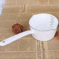 Кухонный горшок 1.3L в японском стиле маленькая эмалированная кастрюля для молока кухонная посуда для варки кастрюля детская емкость с ручко...