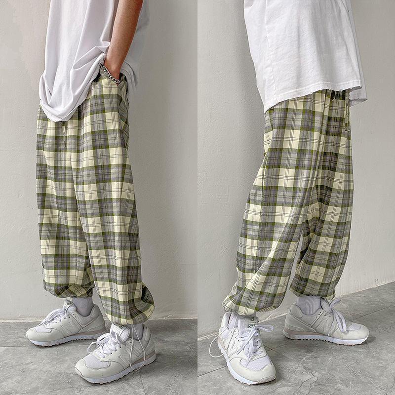 Privathinker Korean Men Plaid Harem Pants 2020 Man Casual Oversized Joggers Hip Hop Streetwear Male Sweatpants Plus Size