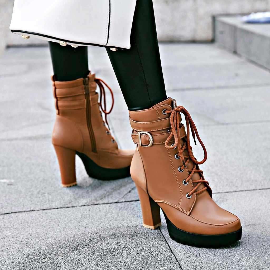Botines de tacón alto para mujer, botas de plataforma con cordones para otoño e invierno, zapatos de moda de talla grande, blanco, negro y marrón