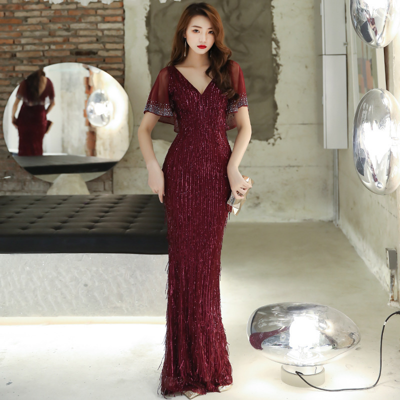 2020 Vestido Cocktail Evening Dress Female 2020 New Banquet Temperament Noble Wine Long Style Celebrity Stage End