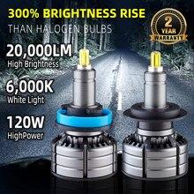 H11 LED H7 LED 20000LM H8 HB3 9005 HB4 H1 Car Led Faróis Lâmpadas 9012 HIR2 6 lados 120W 3D alta potência de 360 graus Auto Lâmpada 12V