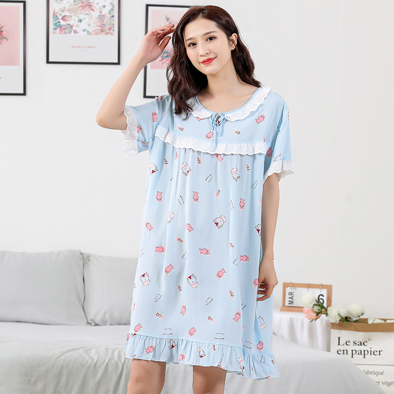 Pajamas Women's Summer Artificial Cotton Silk Short Sleeve Lace Floral-Print Cartoon Korean-style Nightgown Tracksuit