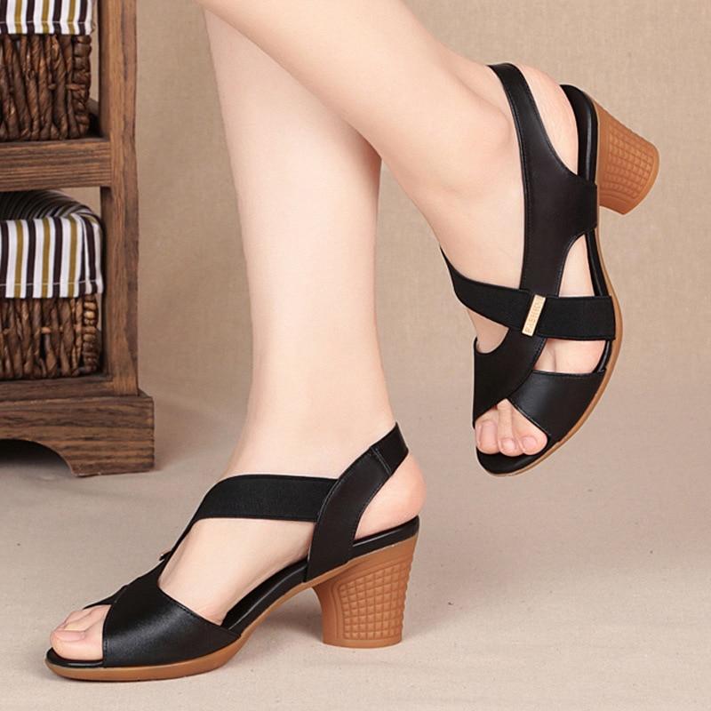 Sandálias femininas verão 2021 nova moda coringa com salto grosso de fadas sapatos de salto alto sandálias femininas para meninas|sandálias femininas|   -
