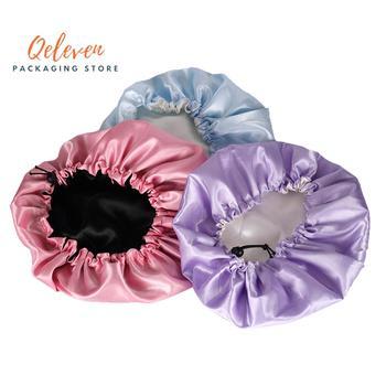 Подгонянные лого Bonnets 2 слоя атласный шелк женская шапочка для сна забота Virgin волосы растяжения парик волосы шапки для сна