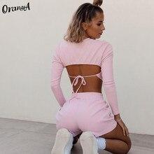 OrangeA fitness women o-neck blackless full sleeve crop top biker shorts