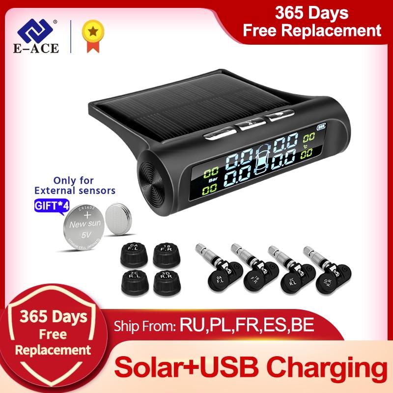 Pressure-Alarm-Monitor-System Car-Tire Tyre-Pressure E-ACE Temperature-Warning Solar-Power