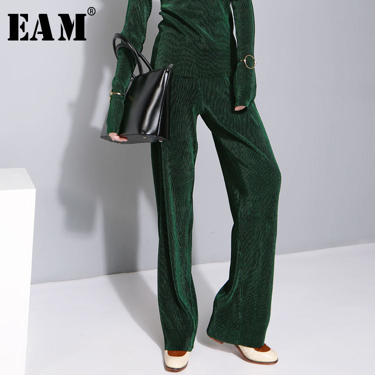 [EAM] High Elastic Waist Multicolor Wide Leg Pleated Trousers New Loose Fit Pants Women Fashion Tide Spring Autumn 2020 JZ534