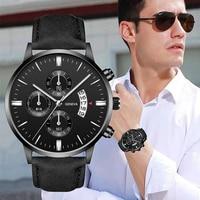 Männer Uhr Mode Sport Armbanduhr Legierung Fall Leder Band Uhr Quarz Business Armbanduhr Kalender Uhr Geschenk