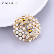 MAIKALE Luxury Pearl Brooch Pins Zirconia Broche Round Pendant Brooches for Women Clothes Suits Accessories Gifts Send Friend