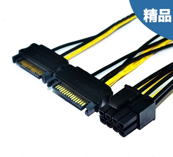 50pcs Dual 15Pin SATA Male to PCI-E PCIe PCI Express Graphics Video Display Card 8Pin Male Power Supply Cable 18AWG Wire PC DIY