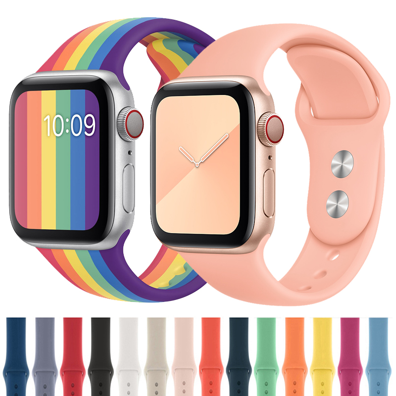 Silicone Strap For Apple Watch Band 42mm 38mm Sport Bracelet Iwatch Correa Bracelet Pulseira 44mm/40mm Watchbands Accessories