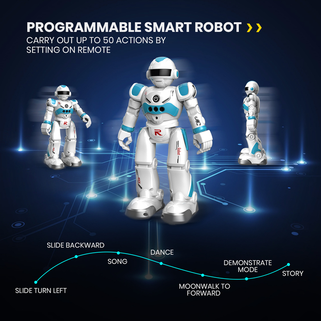 DEERC RC Robot Toy for Kids,Smart Gesture Sensing Remote Control Robot,Great Toys Gift for 3-8 Year Old Boys Girls 6