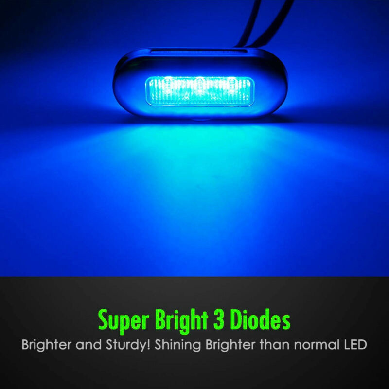 4pcs 12V 3 LED Blue Marker Lights Courtesy Lamp Kit Waterproof For Boat Marine