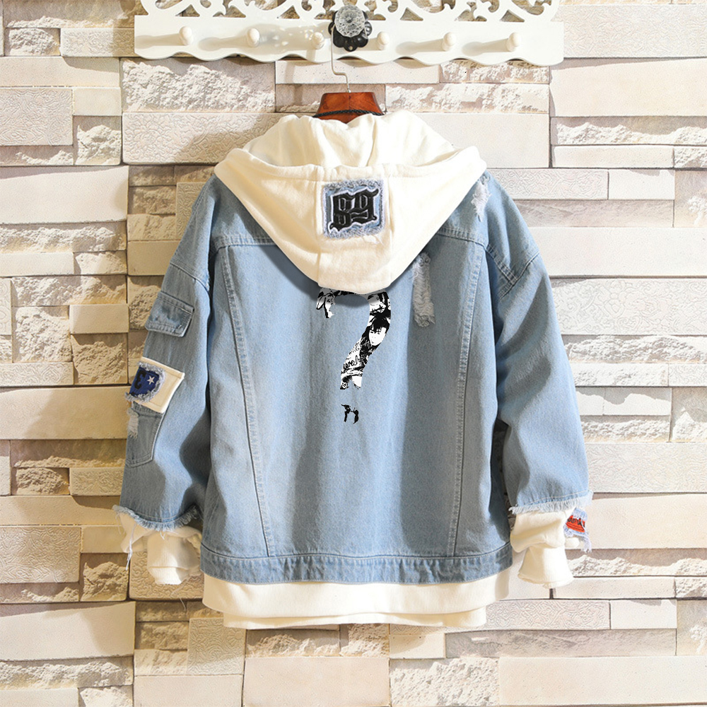 XXXtentacion 2019 Kpop Denim Jean Stitching Jacket Coat Harajuku Bangtan Boy Jimin Suga Jungkook Clothes Fans Hoodies Clothing
