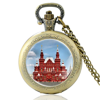 The Red Square Russia The State Historical Museum Design Vintage Quartz Pocket Watch Men Women  Pendant Necklace Hours Clock the distant hours