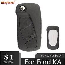 Okeytech substituição flip escudo da chave do carro para ford ka 3 botões remoto dobrável chave habitação caso titular