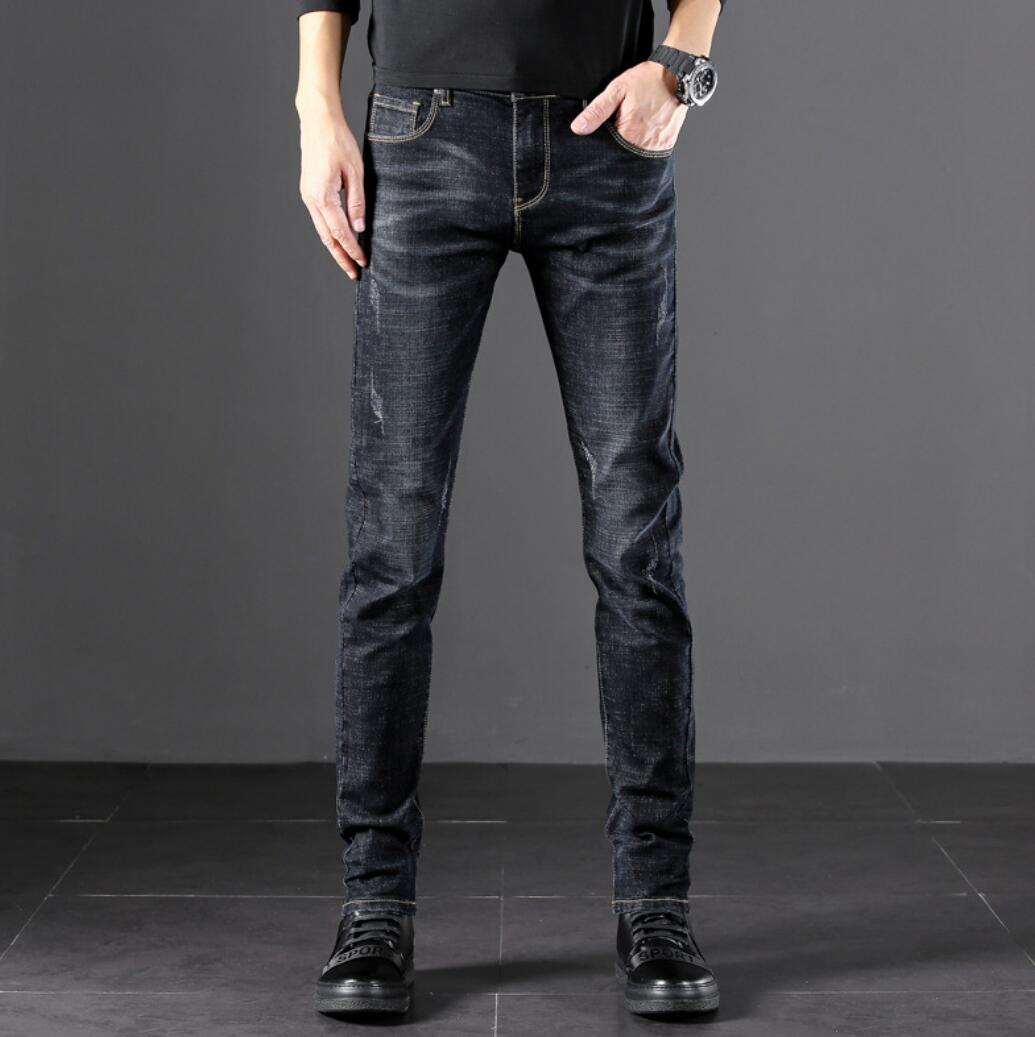 2019 Spring And Autumn Men's New Jeans Em8 Casual Slim Feet Pants Solid Color XD622-9