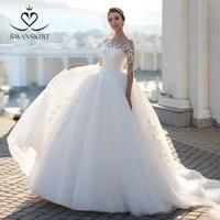 Charming Appliques Lace Wedding Dress Long Sleeve Illusion Ball Gown Sequin Vestido de novia Princess Swanskirt S102 Bridal Gown