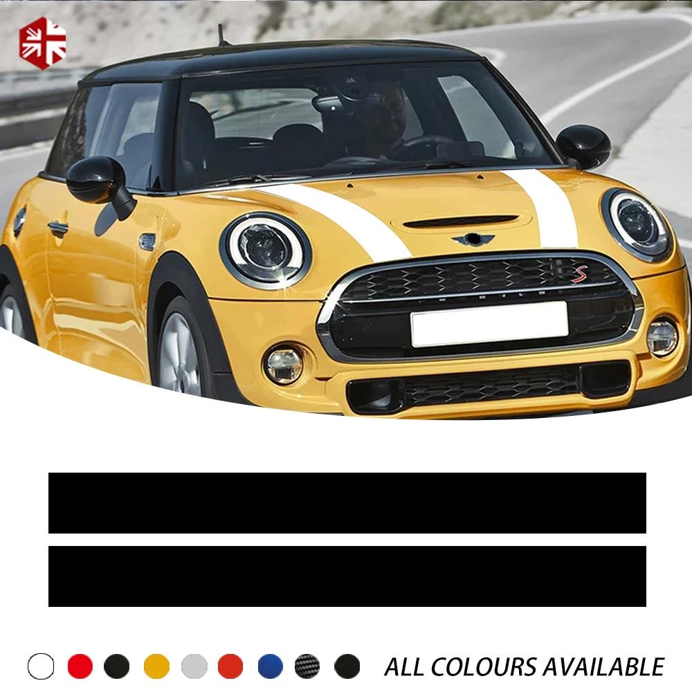 2x Bonnet Stripes Hood Decal Vinyl Cover Sticker for MINI Cooper R50 R53 R56 R55