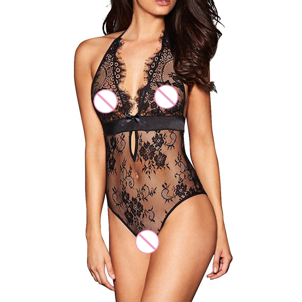 Sexy Lingerie Backless Lace Babydoll Open Crotch Underwear Black Lingerie Rhinestone Bra Straps Extenders Shoulder Cross New