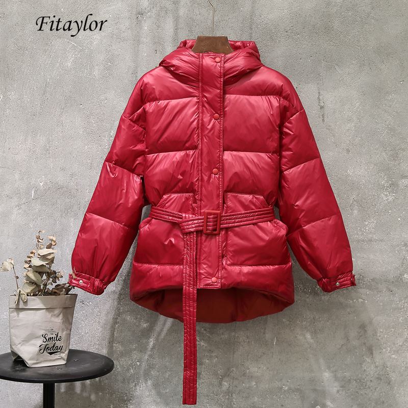 Fitaylor Winter Ultra Light Women Down Jacket Warm White Duck Down Hooded Parkas Female Single Breasted Snow Outerwear With Belt