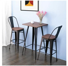 2 Pcs/set Backrest Metal Stools Household Dining Table Bar Individual Chairs Simple Tables Shrinking Round Tables Chairs Couple