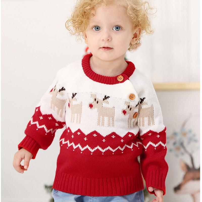 2020 Autumn Winter Boy Girl Christmas Elk Long Sleeve Cartoon Knitted Sweater Boys Girls Sweaters For Baby Girls Kids Sweaters 2