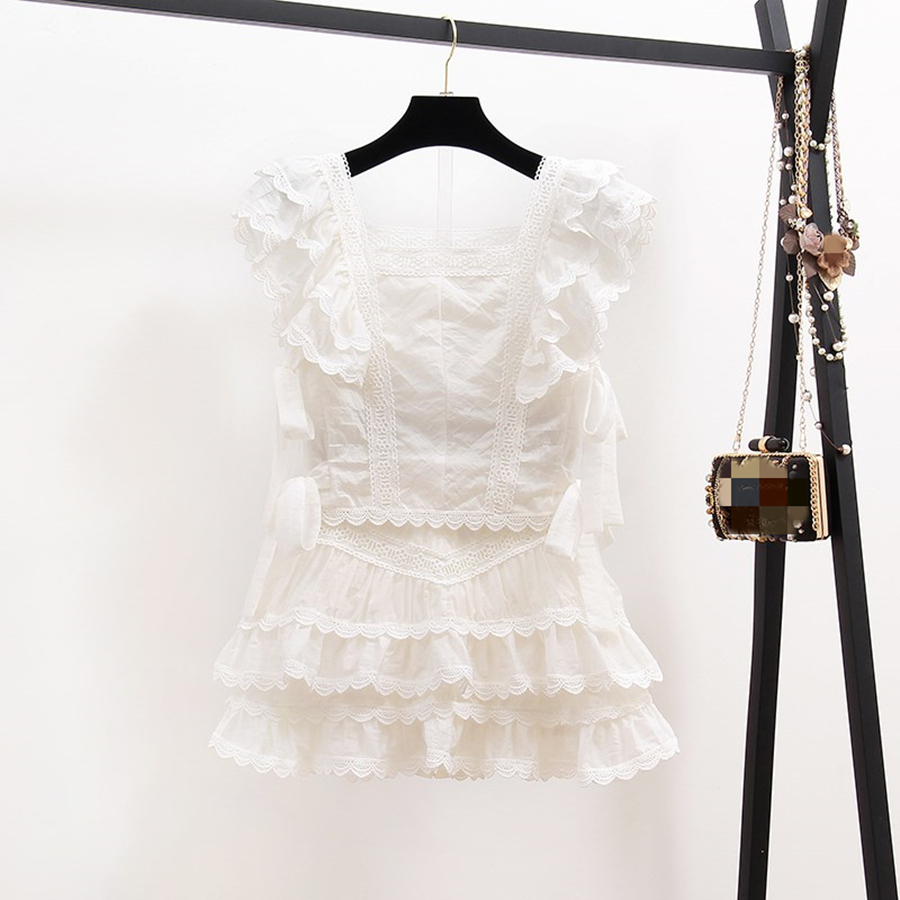 2020 Summer Sexy Hollow Out Embroidery Lace Set Women's Suits Ruffles Short Sleeve Tops + White Mini Skirt Shorts 2 Piece Sets
