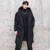 M XL!Winter new style waist design men's long section loose hooded cotton coat dark black hair designer youth cloak coat.