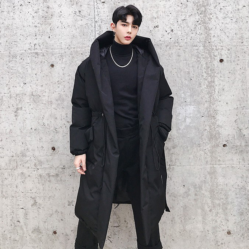 M-XL!Winter New Style Waist Design Men's Long Section Loose Hooded Cotton Coat Dark Black Hair Designer Youth Cloak Coat.