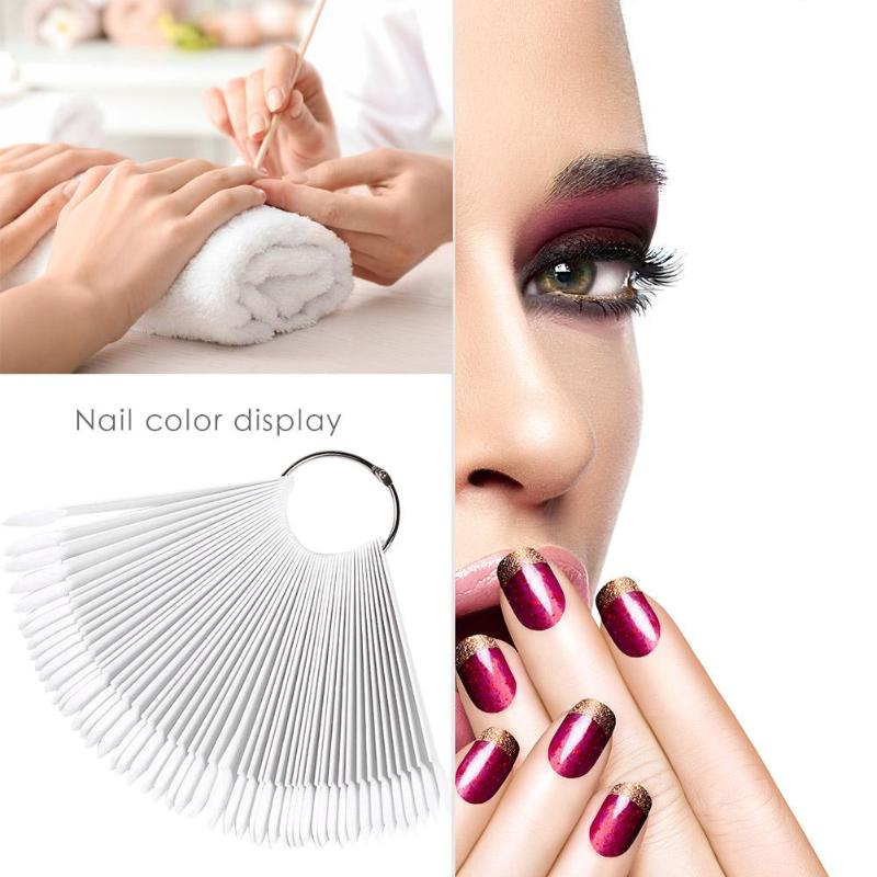 50pcs Round Head Iron Ring Fan Nail Polish Swatch Color Card ABS Good Flexibility Color Accuracy  DIY Convenient Oval Fake Nail