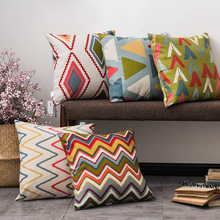 Drop Shipping Modern Geometry Pillow Cover Cotton Linen Colorful Bohemia Plaid Stripe Pillowcase Living Room Home Decoration