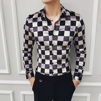 Business Office Shirt Check Velvet Shirts Plaid Camisa Hombre Slim Fit Men Fashion Street Wear Retro Mens Casual Shirts Cotton