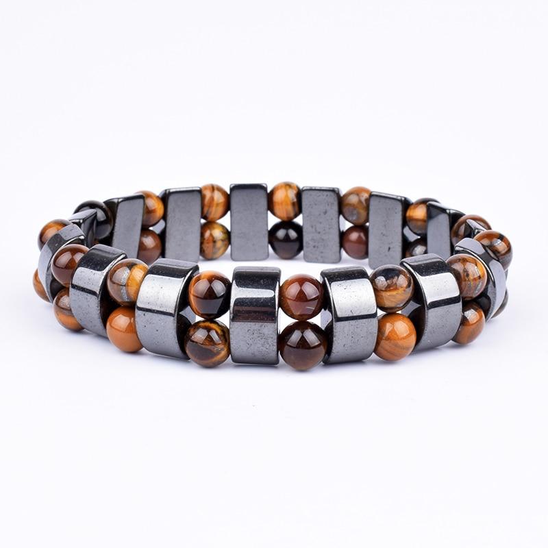 Fashion Nature Double Hematite Bracelet Men Tiger Eye & Hematite Charm Bracelets